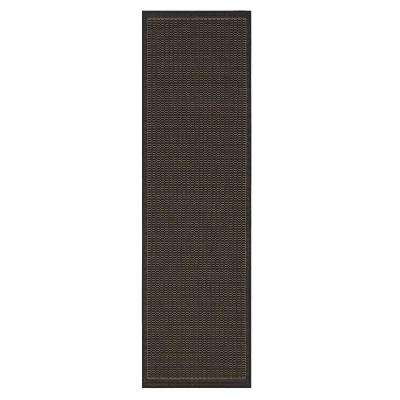 Saddlestitch Black 2 Ft. 3 In. X 11 Ft. 9 In. Rug