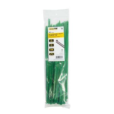 14 in. Cable Tie, 50 lb. Tensile, Green, 100-Pack (Case of 10)