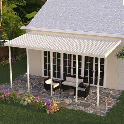 20 ft. x 12 ft. Ivory Aluminum Attached Solid Patio Cover with 4 Posts (10 lbs. Live Load)