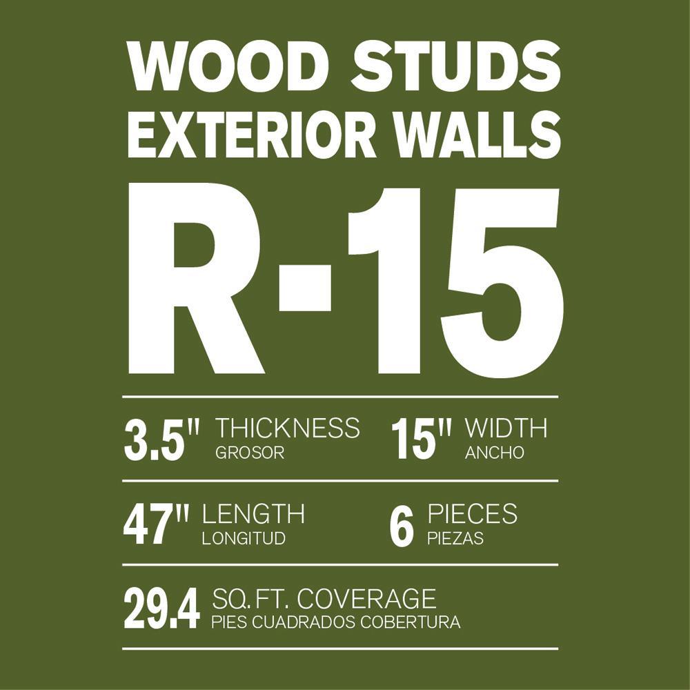R-15 Thermafiber UltraBatt Unfaced Mineral Wool Insulation Batt 15in. x 47in. (24-Bags)