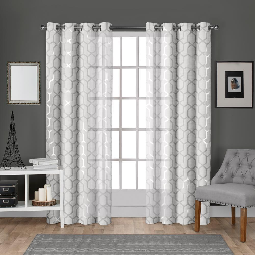 Panza Winter White Silver Metallic Geometric Print Sheer Grommet Top Window Curtain
