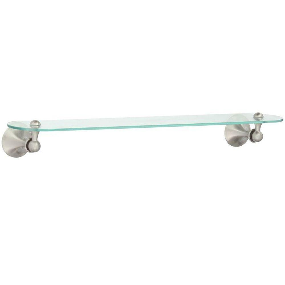 W Glass Bath Shelf in Spot Resist Brushed Nickel-DN7790BN - The Home Depot
