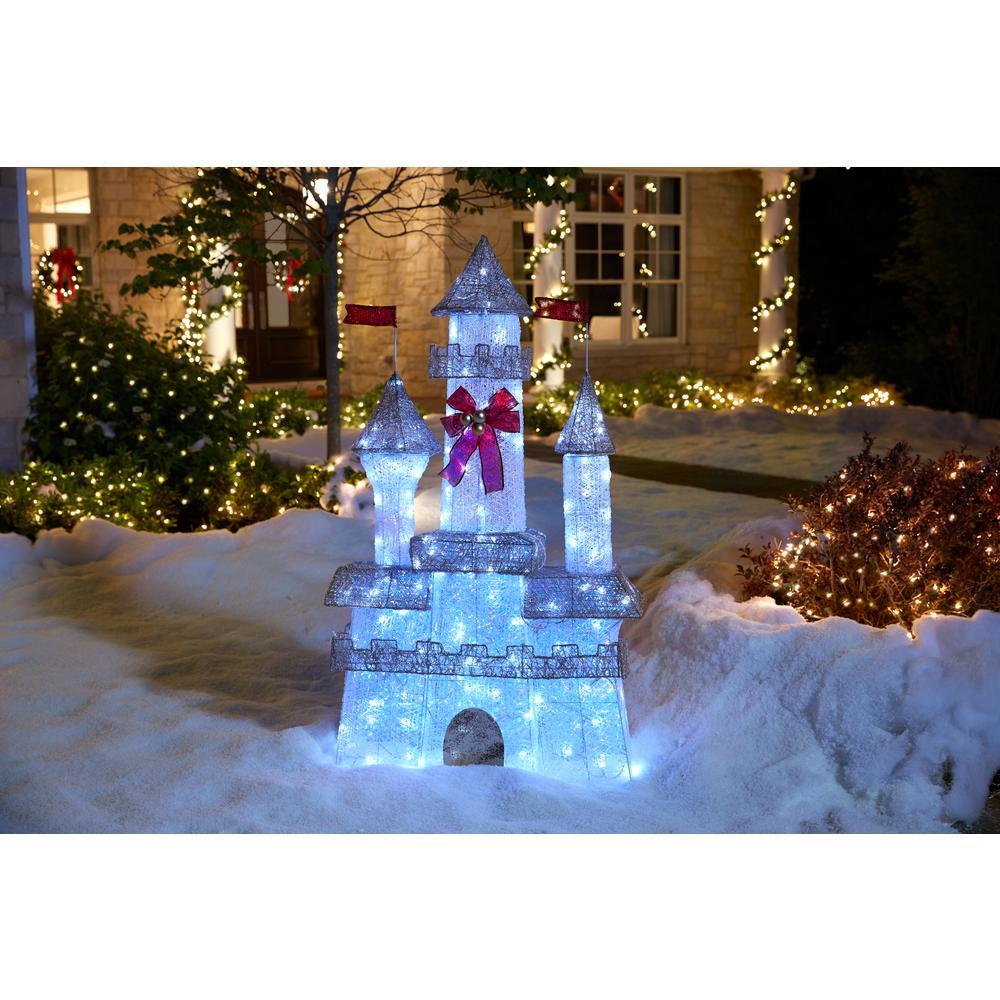 home accents holiday 6 ft pre lit twinkling castle