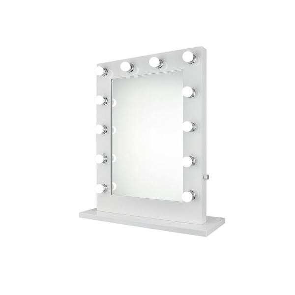 Decor Flair Panola 27.5 in. Glossy White Vanity Mirror Rectangle Steel Frame