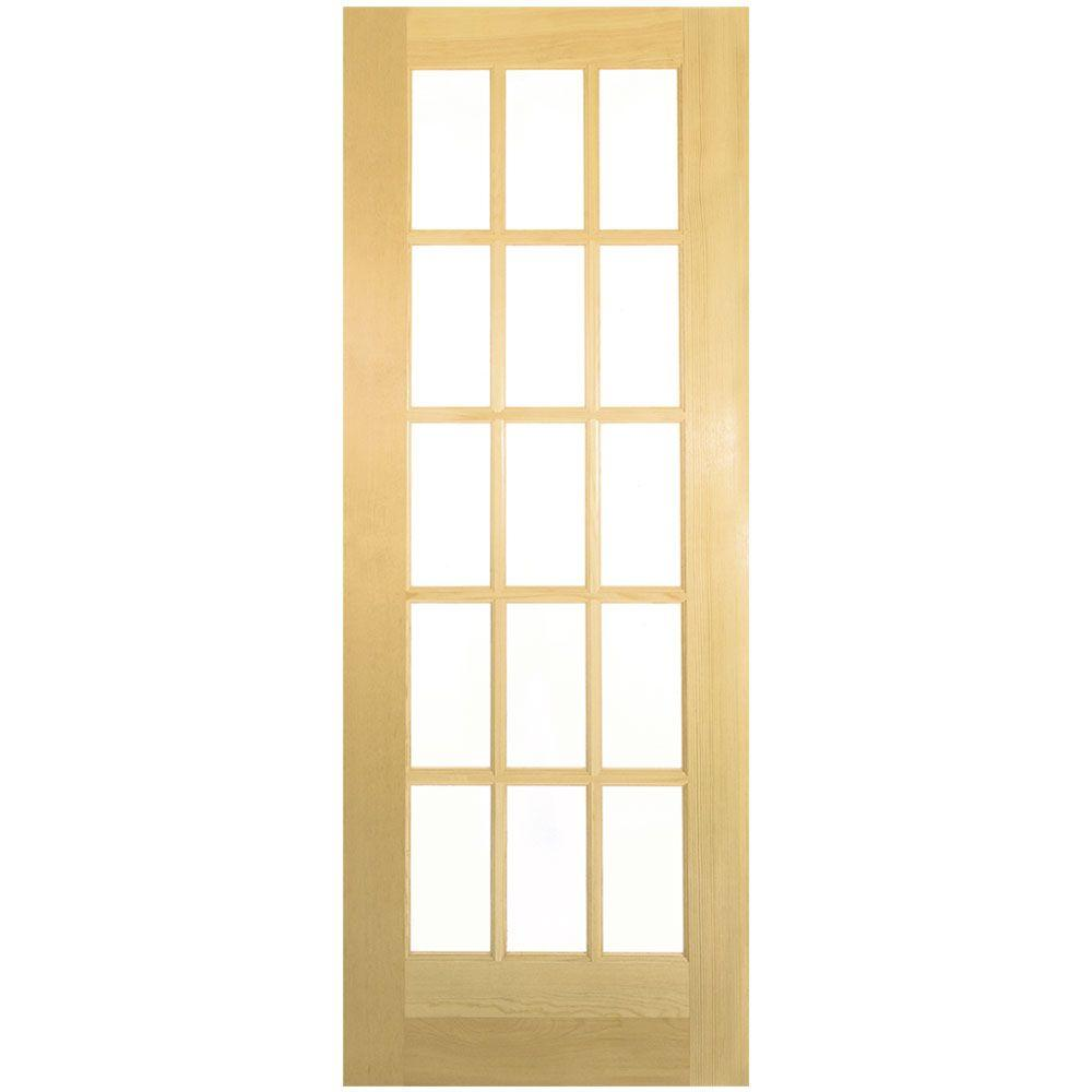 32 in. x 80 in. French 15-Lite Solid-Core Smooth Unfinished Pine