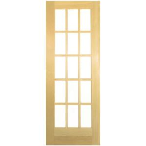 French 15-Lite Solid-Core Smooth Unfinished Pine Veneer Composite Interior Door Slab-255216 - The Home Depot  sc 1 st  Home Depot & Masonite 32 in. x 80 in. French 15-Lite Solid-Core Smooth Unfinished ...