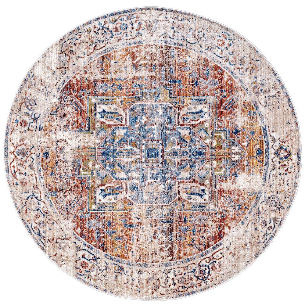 Ehtel Medallion Fringe Ivory 5 ft. Round Rug