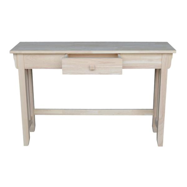 International Concepts 46 In Unfinished Rectangle Wood Console Table With Drawers Ot 61s The Home Depot - Sofa Table Writing Desk