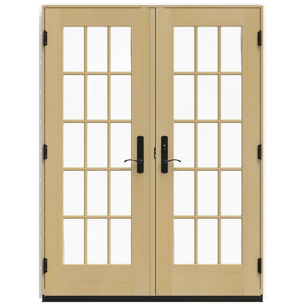 Jeld Wen 60 In X 80 In W 4500 White Clad Wood Left Hand 15 Lite French Patio Door W Unfinished