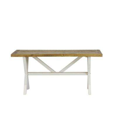 Byron Distressed White Solid Reclaimed Wood Coffee Table