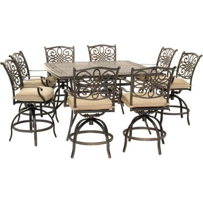 Traditions 9-Piece Aluminum Outdoor Dining Set with Tan Cushions, 8-Swivel Chairs and a 60 in. Square Cast-Top Table