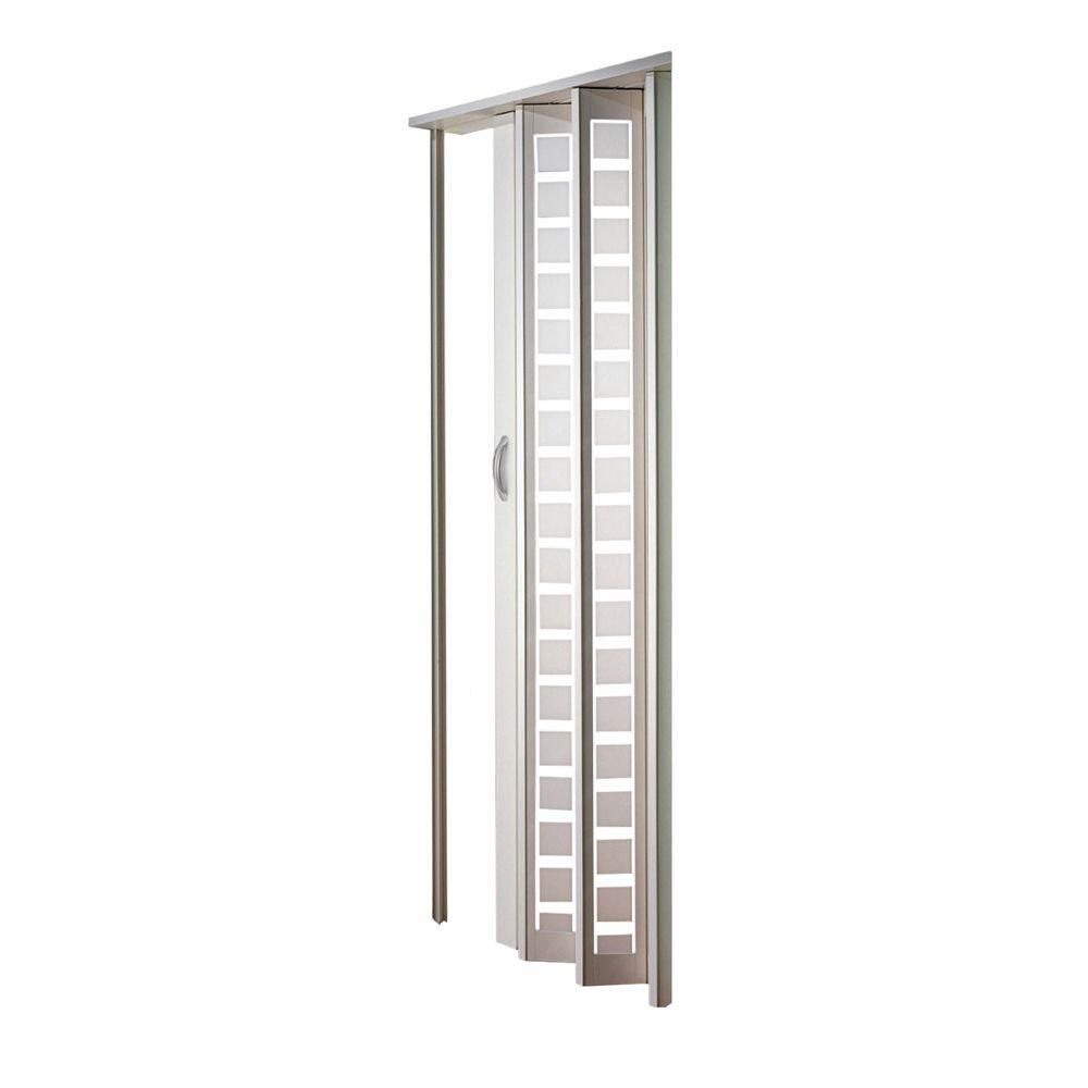 Century Vinyl White Frosted Square Acrylic Accordion Door