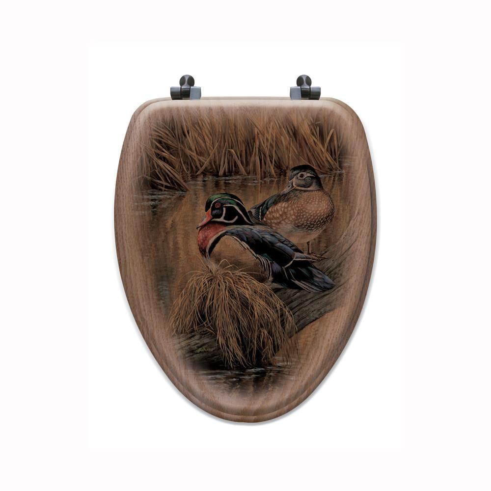Back Water Wood Ducks Elongated Closed Front Wood Toilet Seat in Oak Brown