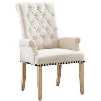 BEIGE Classic Linen Fabric Accent Upholstered Dining Chairs