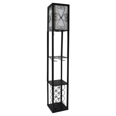 62.75 in. Black Floor Lamp Etagere Organizer Storage Shelf and Wine Rack with Linen Shade