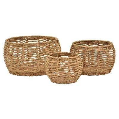 18 in. x 11 in. Water Hyacinth Basket (Set of 3)