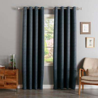 84 in. L Charcoal Linen Print Room Darkening Curtain Panel (2-Pack)
