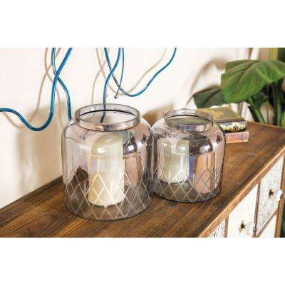 Clear Jar-Shaped Glass Candle Holders (Set of 2)