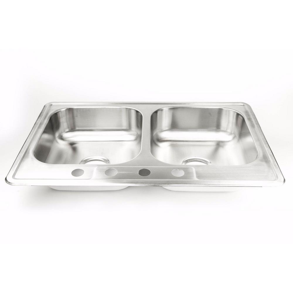 Drop-in Stainless Steel 33 in. 4-Hole 50/50 Double Bowl Kitchen Sink
