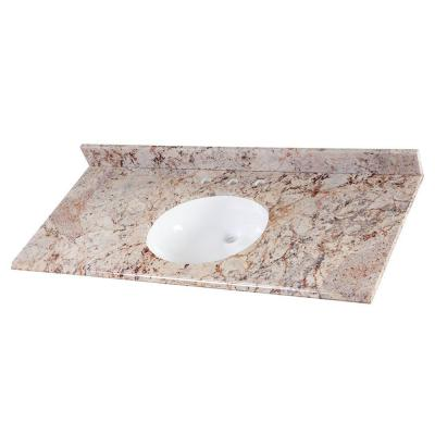49 in. Stone Effects Vanity Top in Rustic Gold with White Sink
