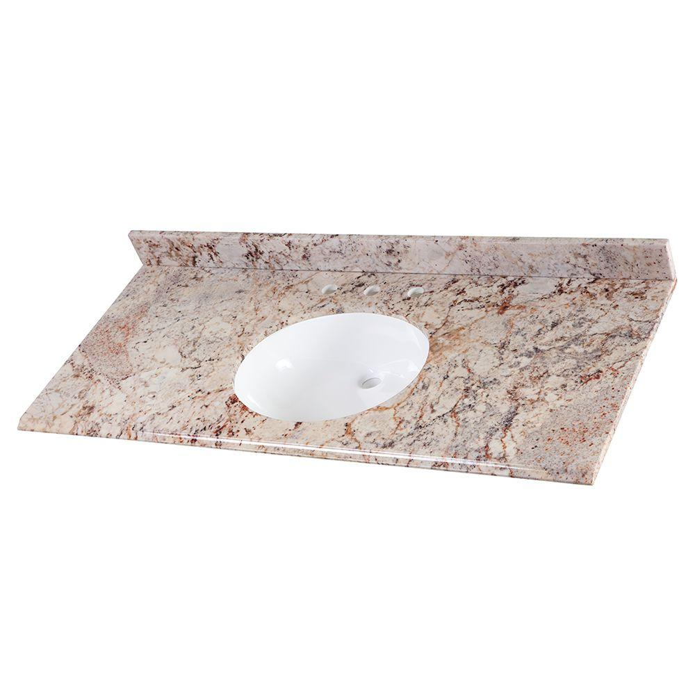 49 in. Stone Effects Vanity Top in Rustic Gold with White