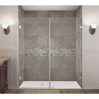 Nautis GS 72 in. x 72 in. Completely Frameless Hinged Shower Door with Glass Shelves in Stainless Steel