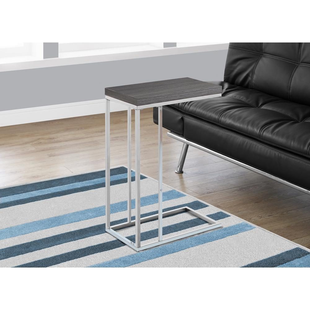 Grey and Chrome Metal End Table