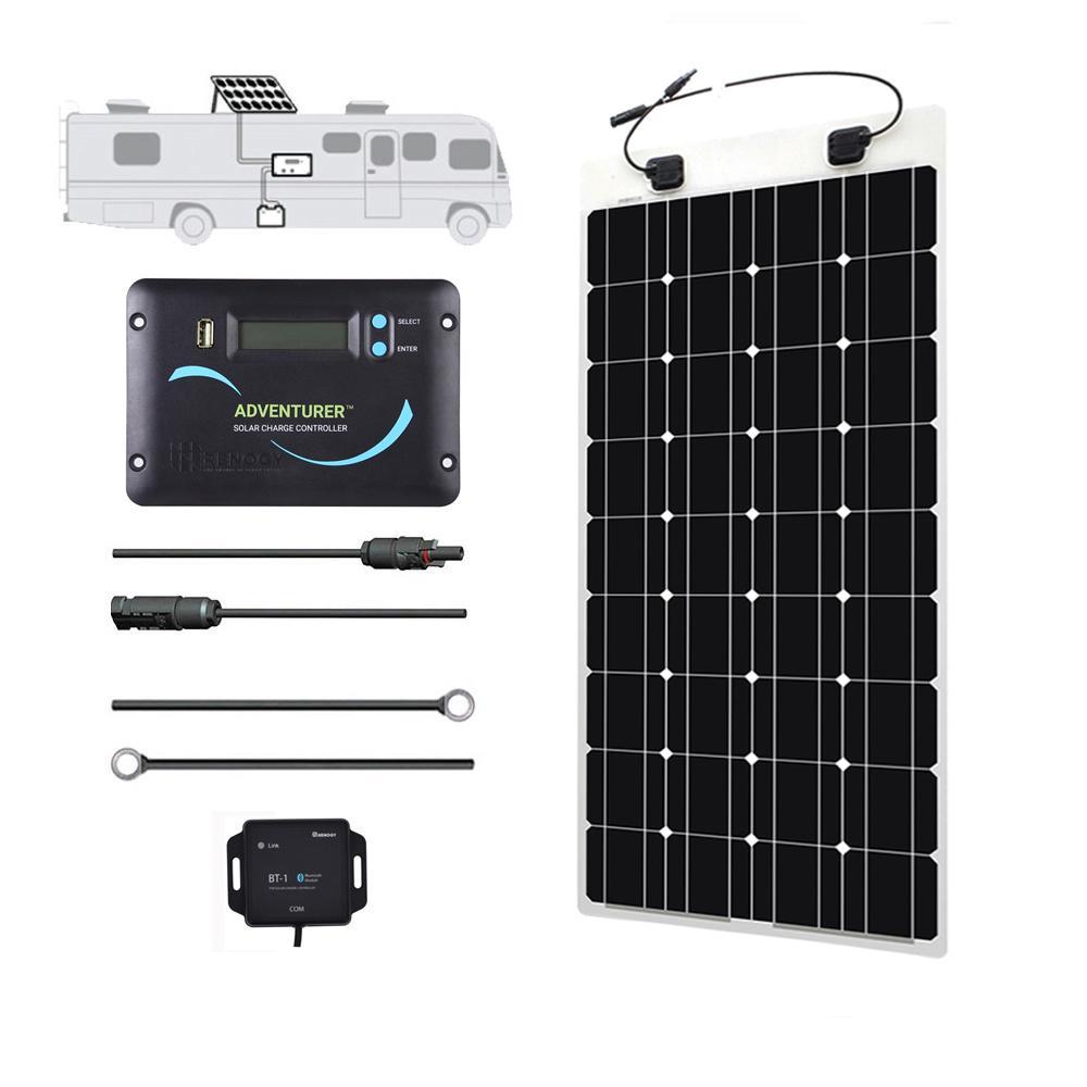 100-Watt 12-Volt Monocrystalline Solar RV Kit for Off-Grid Solar System
