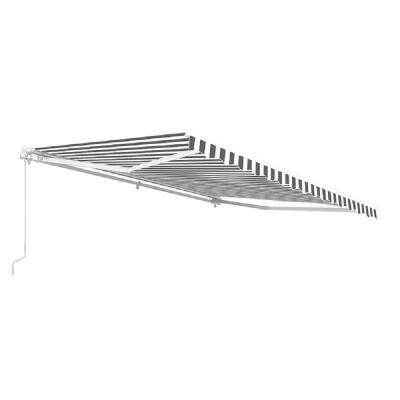 12 ft. Manual Patio Retractable Awning (120 in. Projection) in Grey and White Stripes