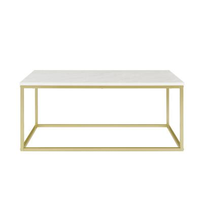 42 in. White Faux Marble/Gold Open Box Coffee Table