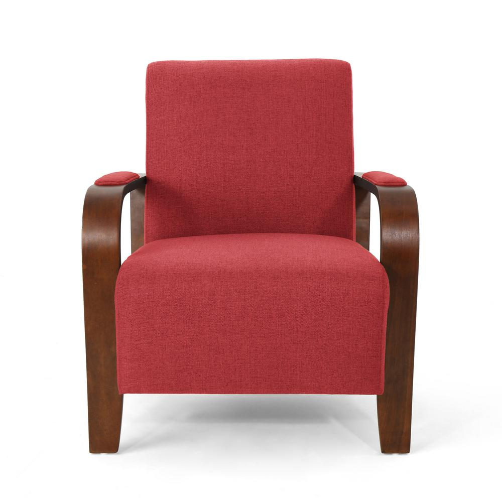 Loukas Traditional Red Fabric Club Chair