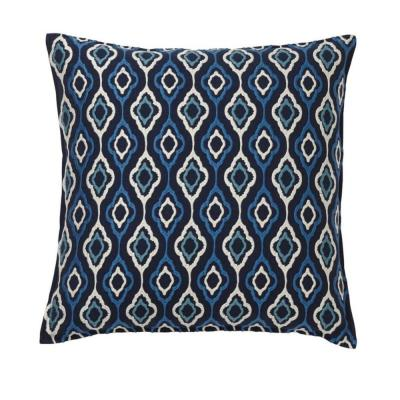Embroidered Blue Ogee 20 in. x 20 in. Decorative Throw Pillow Cover