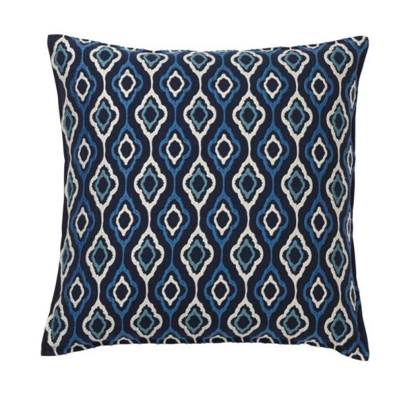 The Company Store Embroidered Decorative Pillow Cover in Blue Ogee, 20