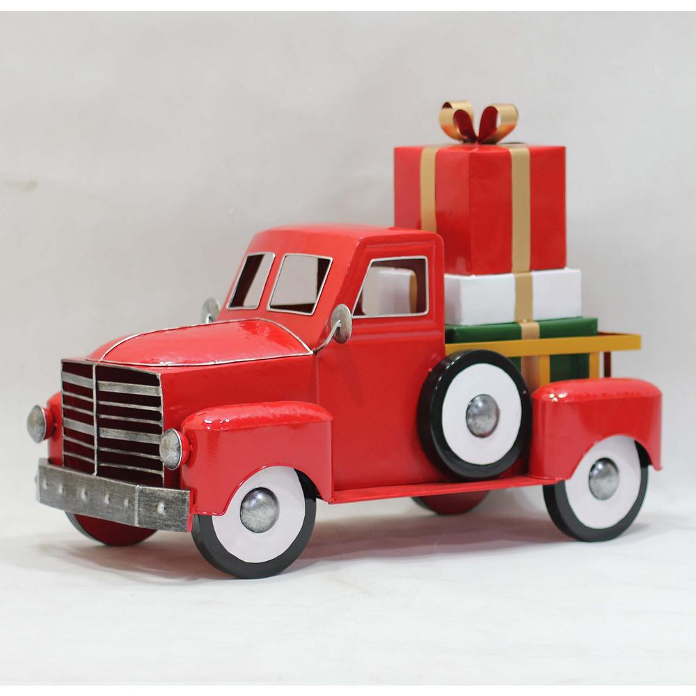 Zaer Ltd. International 2 ft Christmas Truck with Gifts Decorate any room with this Christmas truck carrying a stack of gifts. Just like our Christmas truck with light up tree, this piece will bring the Holiday spirit to any room. Finely crafted powder coated iron and nicely painted, this indoor/outdoor decoration will provide lots of holiday cheer with some versatility.