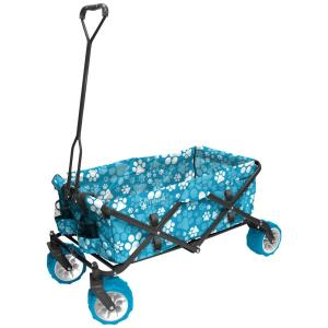 Creative Outdoor 7 cu. ft. Folding Garden Wagon Carts in Blue Paw Print by Creative Outdoor