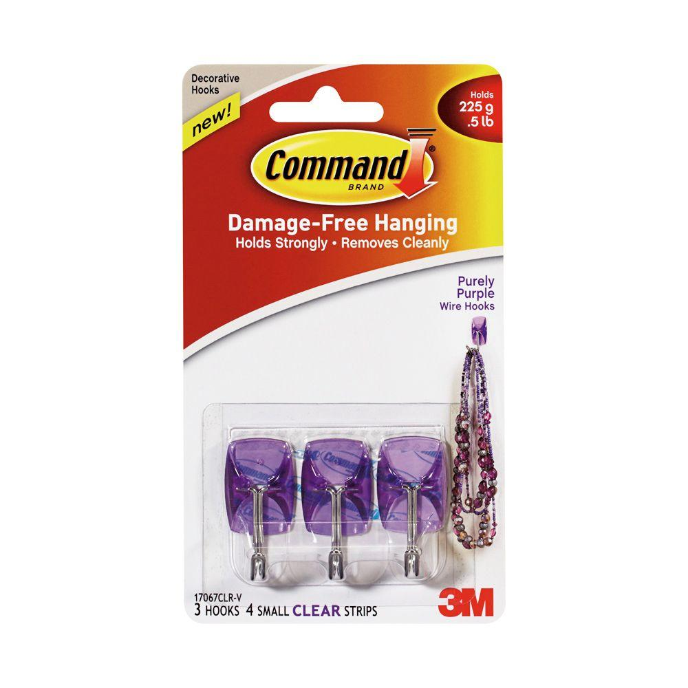 Command Small Purely Purple Wire Hook with Clear Strip (7-Piece per ...