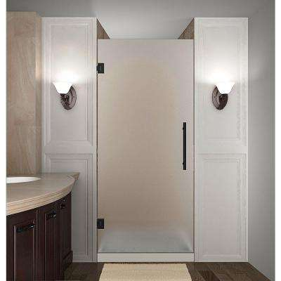 Cascadia 36 in. x 72 in. Completely Frameless Hinged Shower Door with Frosted Glass in Oil Rubbed Bronze