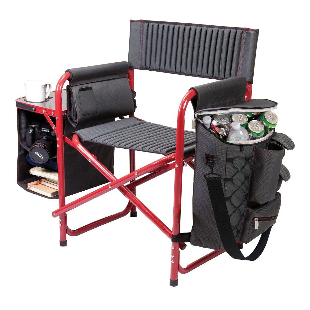 Dark Grey with Red Fusion Portable Outdoor Patio Chair
