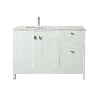 Calypso 48 in. Bath Vanity in White with White Marble Vanity Top in White with White Basin