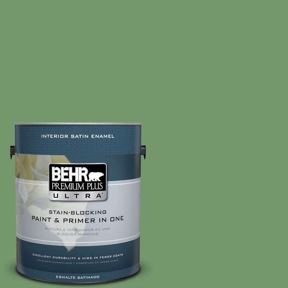 BEHR Premium Plus Ultra 1-Gal. #PPU11-3 Botanical Green Satin Enamel Interior Paint