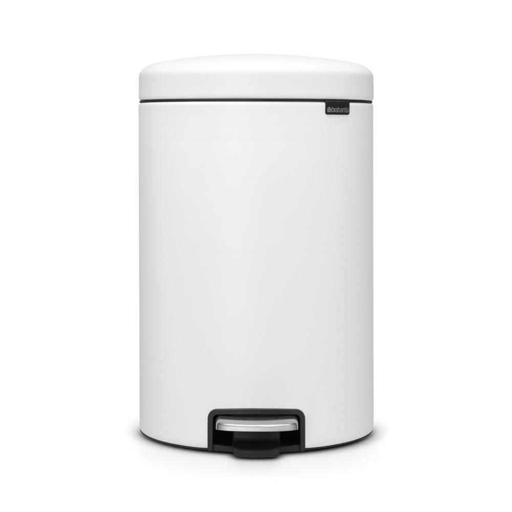5.3 Gal. Steel Step-On Trash Can in Mineral White