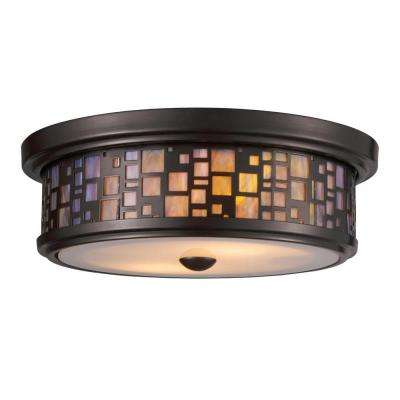 Tiffany Flushes 2-Light Oiled Bronze Ceiling Mount Flushmount