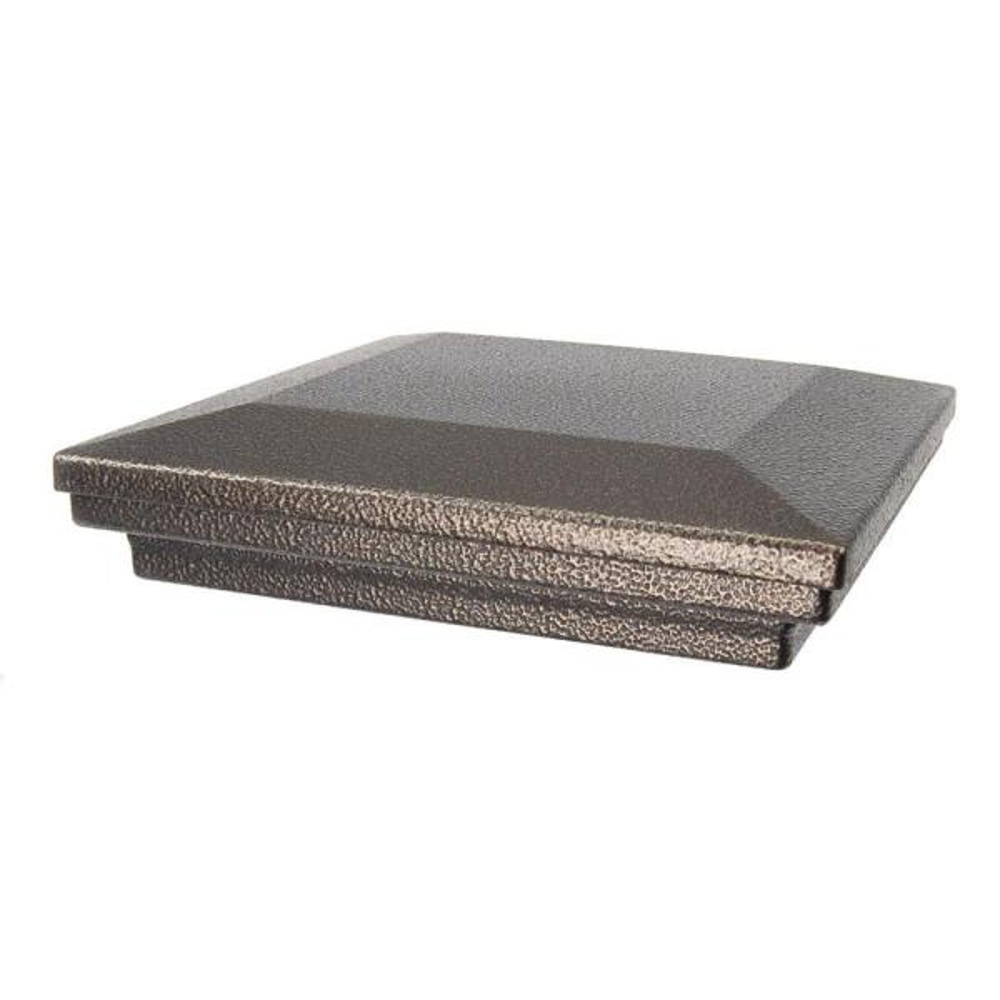 6 in. x 6 in. Antique Bronze Aluminum Flat Pyramid Post Cap