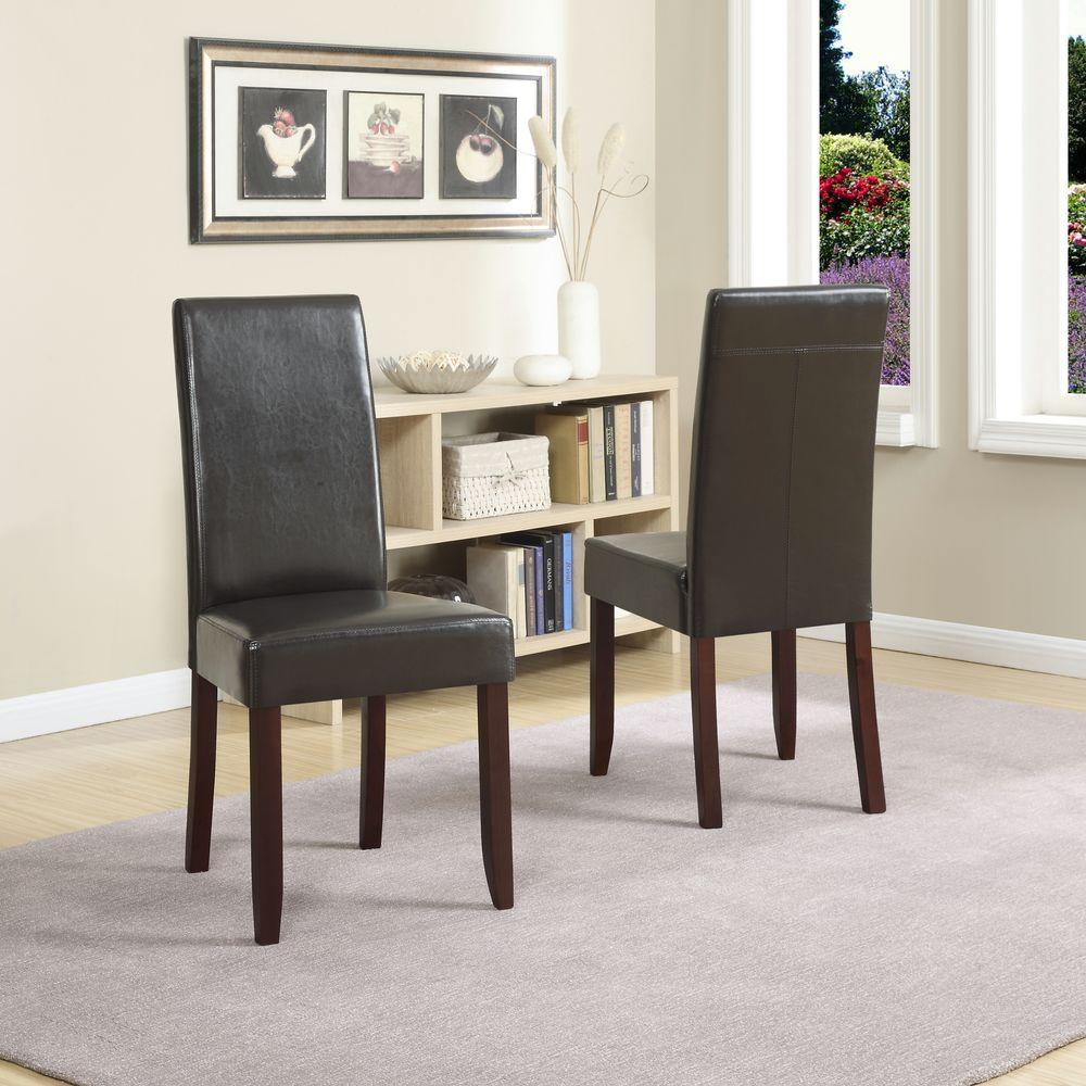 simpli home acadian tanners brown faux leather parsons dining chair set of 2 - Dining Chairs Set Of 4