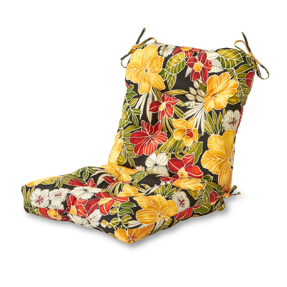 Greendale Home Fashions Aloha Black Outdoor Dining Chair Cushion