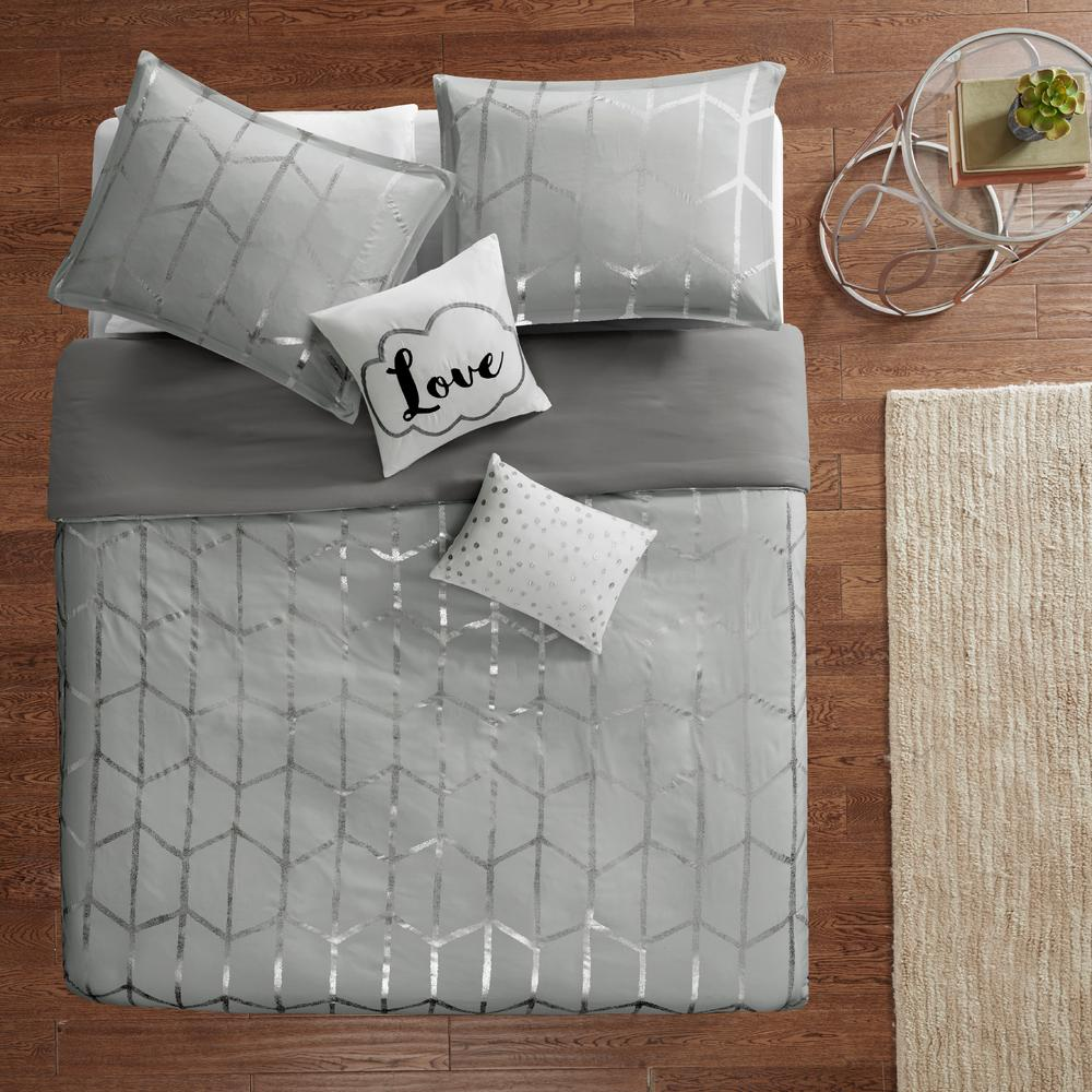 Khloe 5-Piece Grey/Silver Full/Queen Geometric Duvet Cover Set