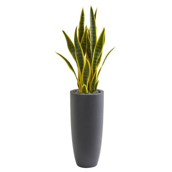 Nearly Natural Indoor 3-Ft. Sansevieria Artificial Plant in Gray Bullet Planter