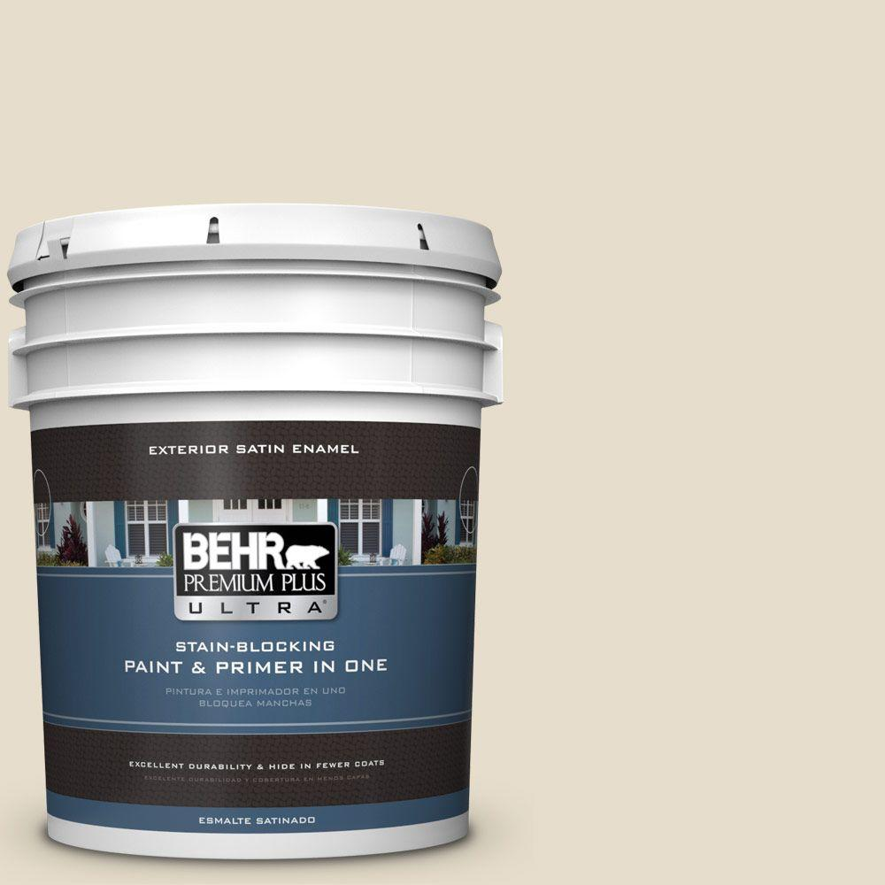 BEHR Premium Plus Ultra 5-gal. #PWL-90 Abstract White Satin Enamel Exterior Paint