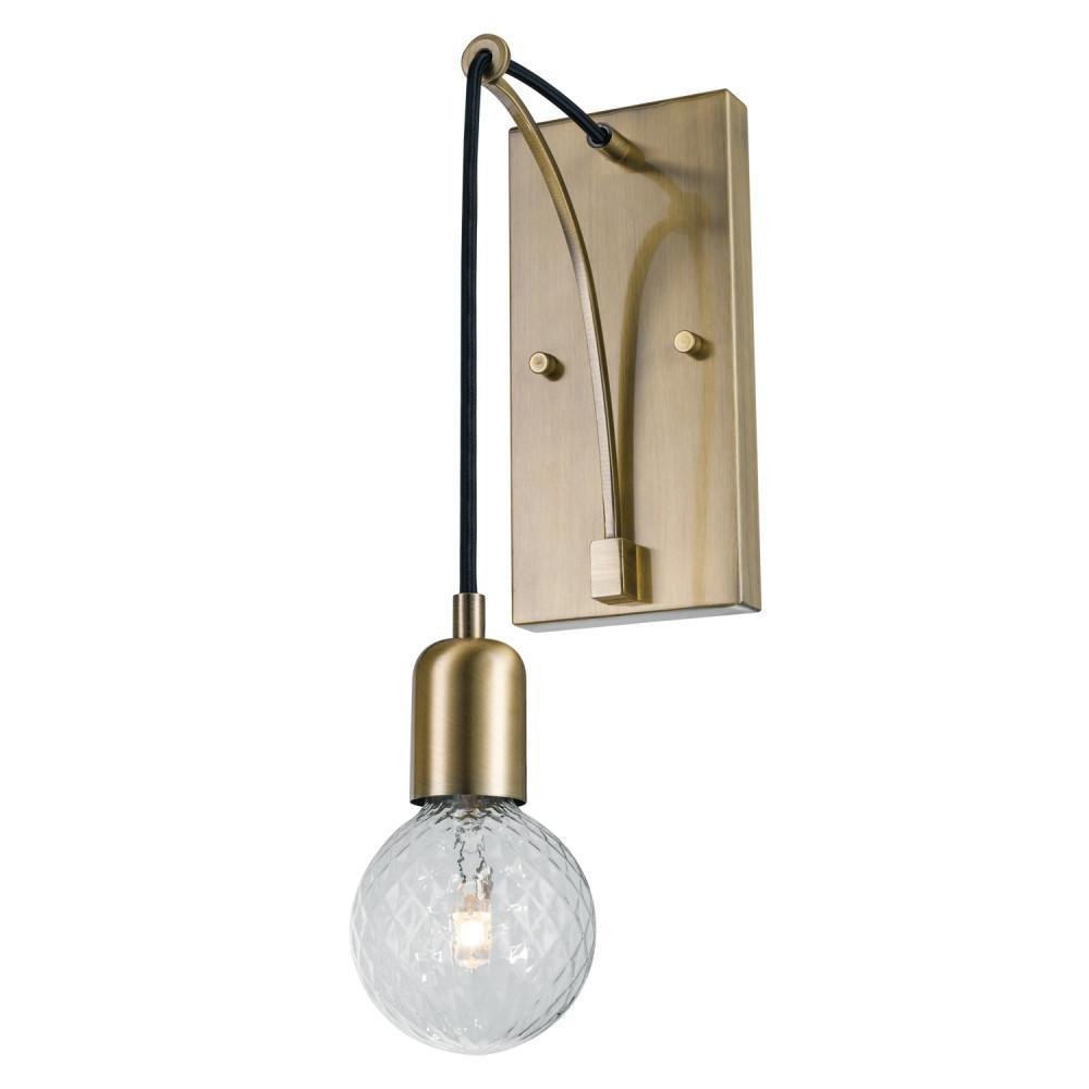 the best attitude b8c4f bb9c1 Globe Electric Krystallos 1-Light Antique Brass Wall Sconce, Designer Bulb  Included