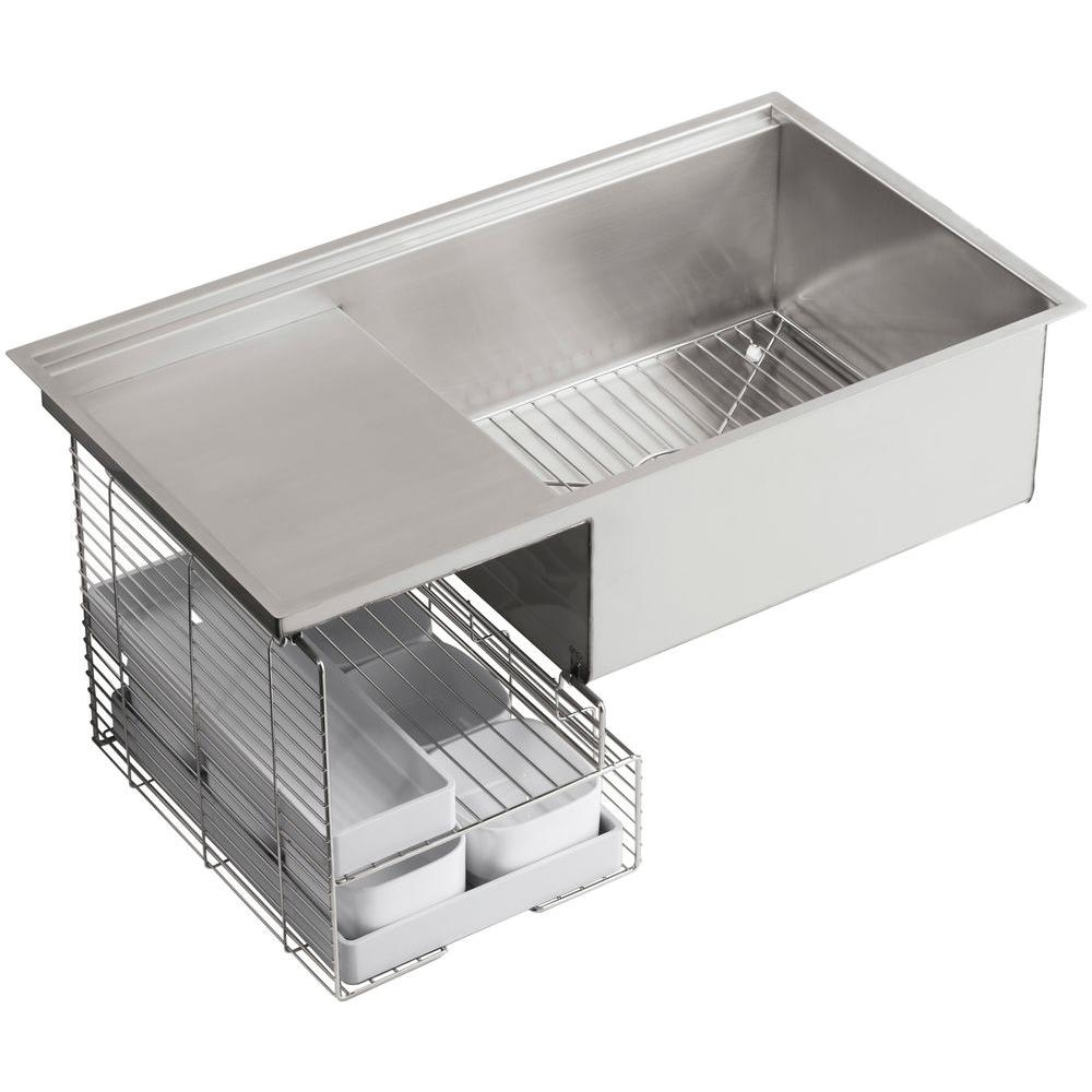 Stages Undermount Stainless Steel 33 in. Single Bowl Kitchen Sink Kit